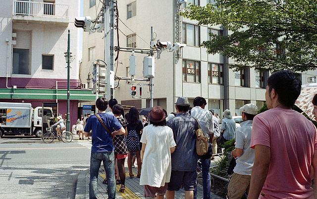 Flock of pedestrians at red light