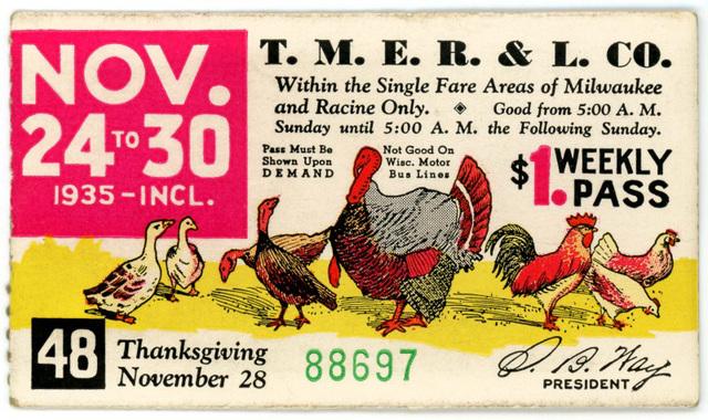 Thanksgiving Railway Pass, Milwaukee, Wisconsin, Nov. 24-30, 1935