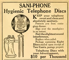 Sani-Phone Hygienic Telephone Discs Ad, World Almanac and Encyclopedia, 1912 (Internet Archive)