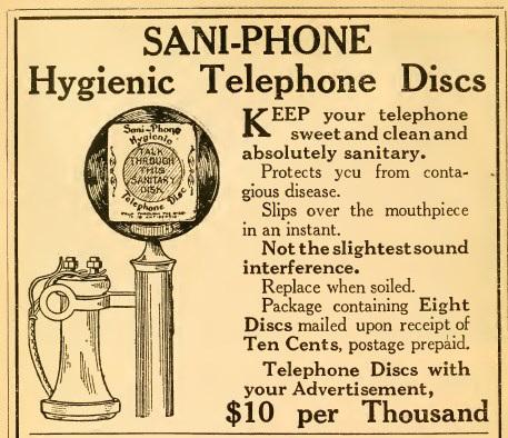 Sani-Phone Hygienic Telephone Discs Ad, World Almanac and Encyclopedia, 1912 (Internet Archive)
