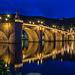 Heidelberg, Alte Brücke zur Blauen Stunde (165°)