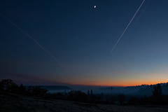 Sunset with Burn Smoke, Jet Trails, the Moon and Venus!