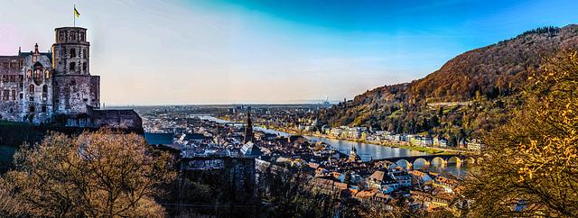 Heidelberg, Altstadt und Schloss  - Old City and Castle (270°)