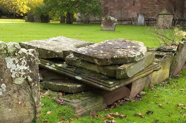 A pile of gravestones