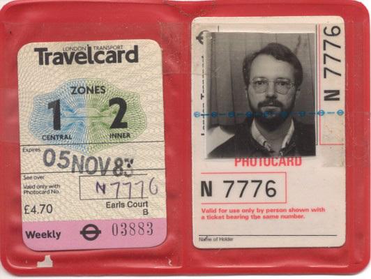 London subway pass, 1983