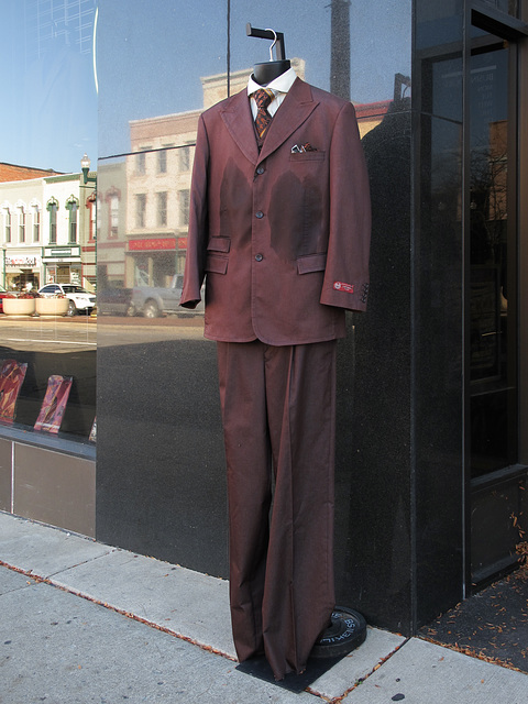 Outdoor purple Caravelli Fusion suit in downtown Ypsilanti.