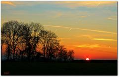 coucher de soleil dans la campagne