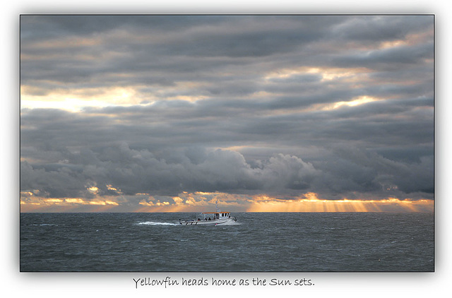 'Yellowfin' heads home as the Sun sets - Seaford Bay - 7.12.2013