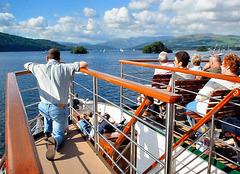 """Lake Windermere, aboard M.V. """"Swan"""" approaching Ambleside."""