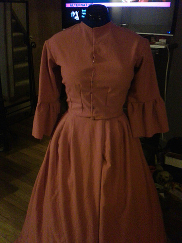 The wool 1860's dress before trim