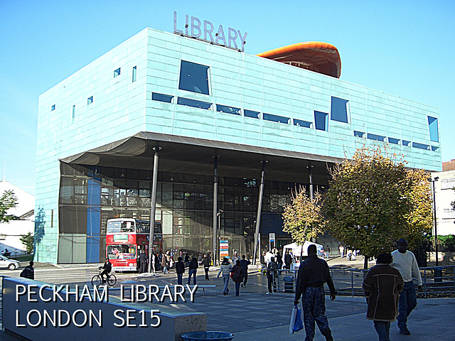 Peckham Library with bus outside - 4.11.2006