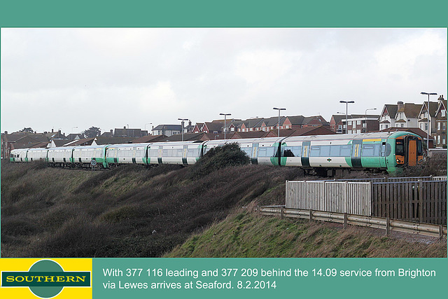 Southern 377 116 & 209 arrive at Seaford - 8.2.2014