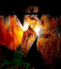 dried seafood at night food stall