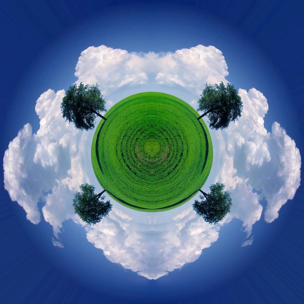 Symmetrischer Vierbaumplanet - Symmetrical Four-Tree-Planet (135°)