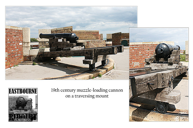 Eastbourne Redoubt cannon on traversing mount  - 18.8.2010