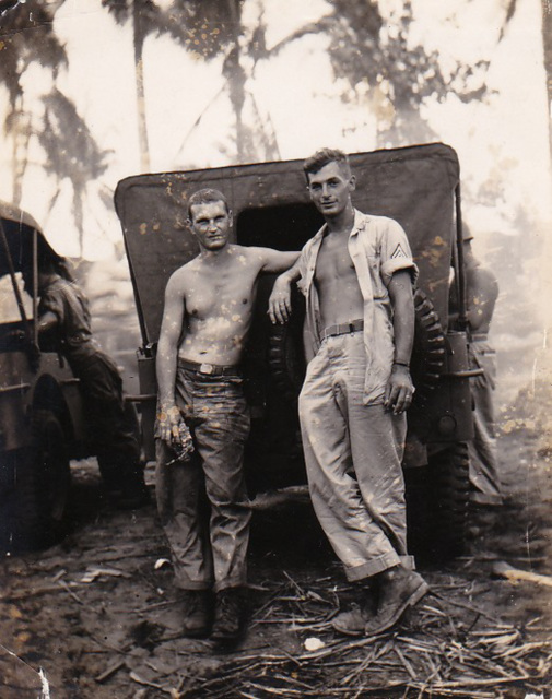 Dad on the right, Leyte Island WWII