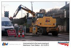 L&W Contractors Ltd Ro-Rail crane - Newhaven Town level crossing works - 22.12.2013 d