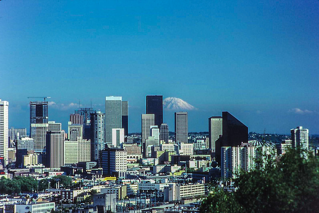 Downtown Seattle and Mt. Rainier 1980 (150°)