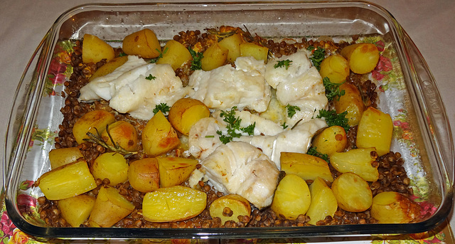 Fish potatoes lentils mustard seeds