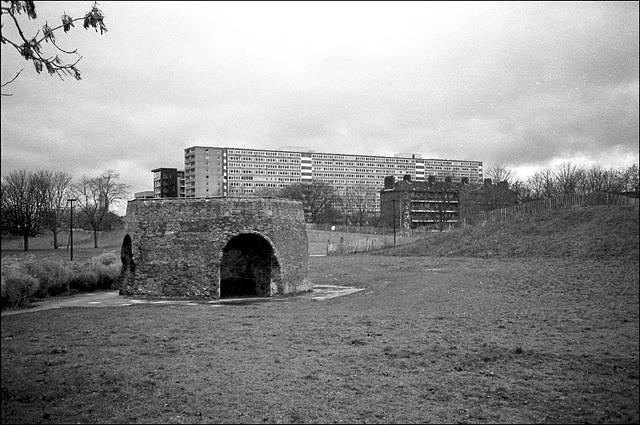 Old lime kiln, flats. Burgess Park London SE.