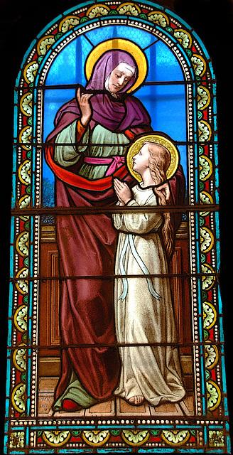 Un des nombreux vitraux de l'église de Dangeau