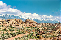 Alabama Hills and High Sierra  near Lone Pine, Ca, May 1980 (330°)