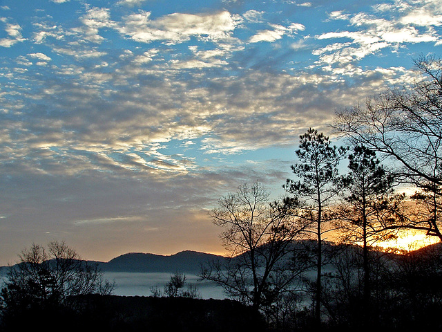 Sunrise - black, blue, and white
