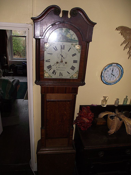 My grandparents' grandfather clock, which was repaired in 1824