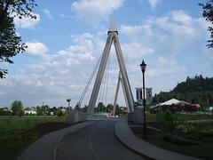 Pont piétonnier et lampadaire / Pathway lamp and footbridge.