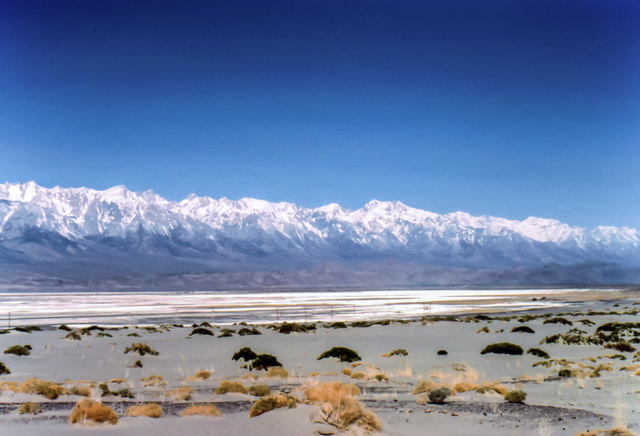 Dry Owens Lake and High Sierra, March 1980 (315°)