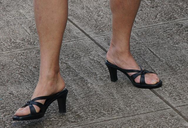 mature feet in callisto heels
