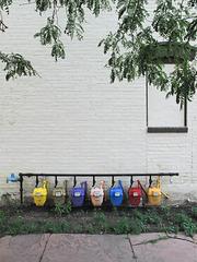 Rainbow of gas meters.