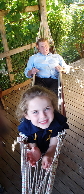 Audrey & her dad in the hammock