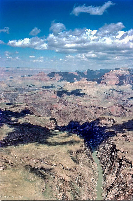 The Gorge, Grand Canyon, Sept. 1978 - Heli view