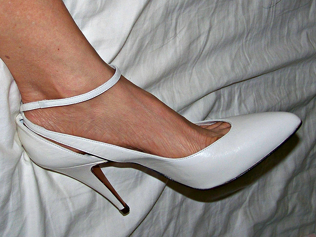 white caressa heels