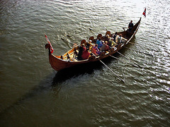 """Viking"" boat at the Jorvik festival in York."