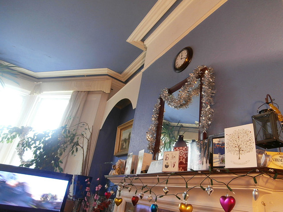 My side of the room, showing the mantlepiece