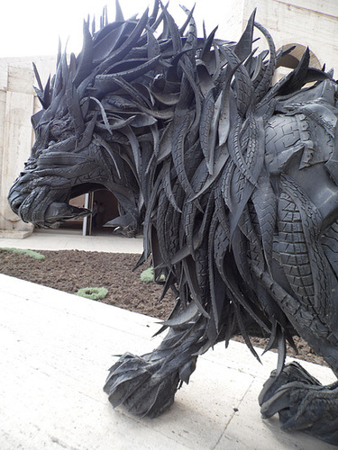 A Sculpture Made From Old Tyres