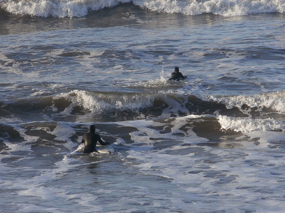 These surfers managed to get out into the breakers