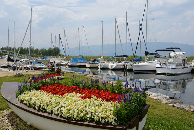 Le port fleuri de Gletterens