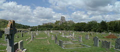 View from Corfe cemetery to Corfe Castle