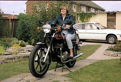 750cc Triumph Bonneville  (1979/80) and daughter!