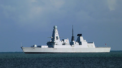 Type 45 Destroyer HMS Defender (D36) in Weymouth Bay