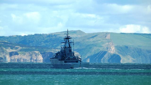 River-class offshore patrol vessel  HMS Tyne (P281) in Weymouth Bay
