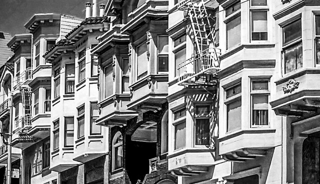 Bay Windows,  San Francisco, Union at Taylor 1980 (270°)