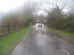 Fast through flood by Gutner Lane, Hayling Island