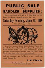 Public Sale of Saddler Supplies! Schaefferstown, Pa., June 28, 1919
