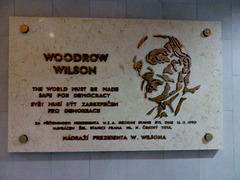 Restored Woodrow Wilson Plaque, Praha Hlavni Nadrazi, Prague, CZ, 2013
