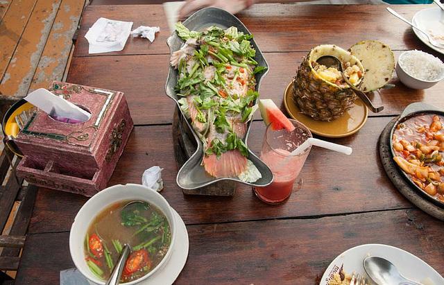 Thai food: steamed tab-tim fish