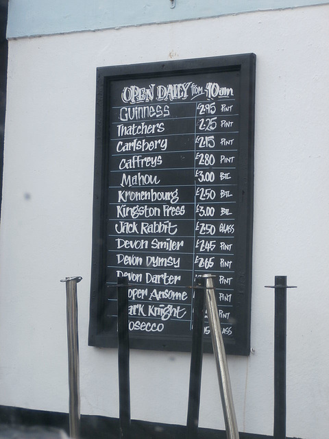 The beer list outside the local pub